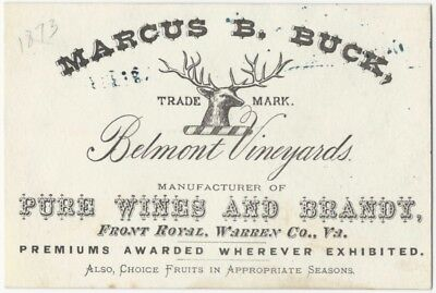 1873 Belmont Vineyards Front Royal Virginia Wine Business Card