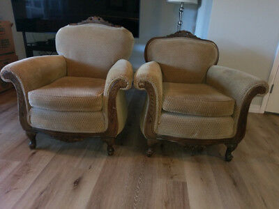 vintage club chair 1930's His and Hers sizes  Excellent condition, Rare pair
