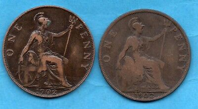 1902 Low Tide & Normal Edward Vii Penny Coins.  2 X Pennies.