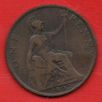 1902 Low Tide Penny Edward Vii Coin.  Scarce Variety.