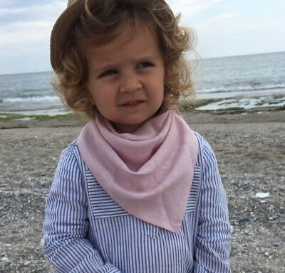 Linen (flax) scarf for kids in pink, Pure linen wrap, Baby bandana bib, shawl
