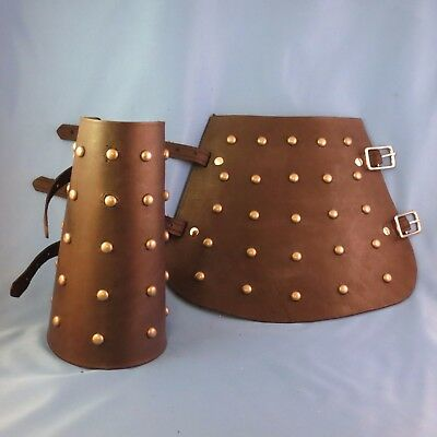 Medieval Brown Leather Studded Bracers