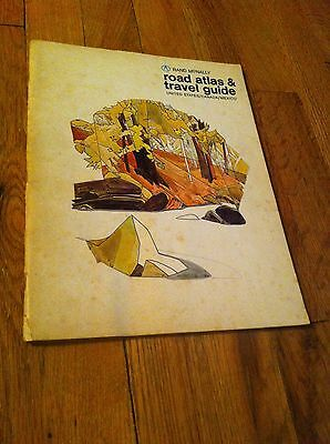 1970 Rand McNally Road Atlas & Travel Guide United States Canada Mexico Map Rare
