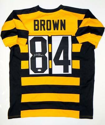 Antonio Brown Autographed Black/Yellow Pro Style Jersey- JSA Witnessed Auth *8