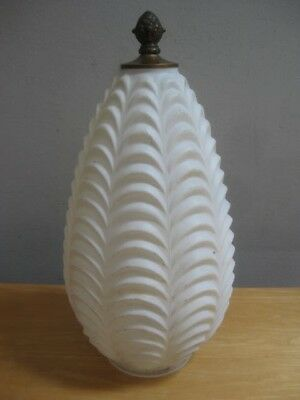Antique White Glass Ornate Light Fixture Shade Vintage 14 Inches