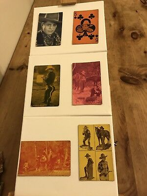 Vintage Postal Cards Silent Era 1920's Western Cowboys Actors Arcade Lot Of 6