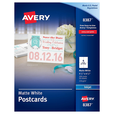 Avery Postcards for Inkjet Printers, Matte, 5.5 x 4.25 Inches, White, Box of 200