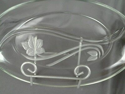 Clear Oval Tray with Floral Design
