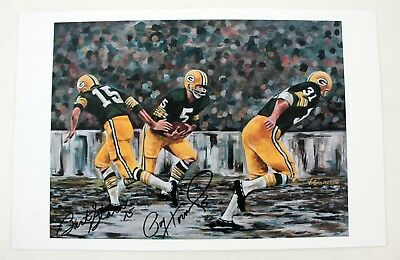 Bart Starr Paul Hornung Signed Autographed Green Bay Packers 11x17 Lithograph