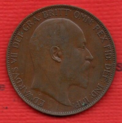1907 Edward Vii Penny Coin In Pleasant Condition.