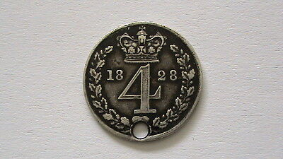 Silver Fourpence 1828 King George Iiii Holed Coin