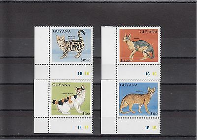 Timbre Stamp 4 Guyana Y&t#2722-25 Chat Cat  Neuf**/mnh-Mint 1992 ~A17