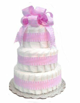 Classic Pastel Baby Shower Diaper Cake 3 Tier, Pink by Rubber Ducky