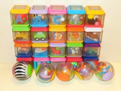 20 Fisher-Price PEEK-A-BLOCKS & 5 ROLL-A-ROUND BALL Animals Textures Sports Lot