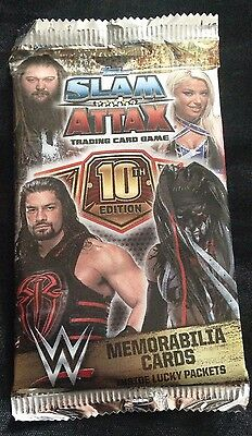 Wwe slam attax 10th edition HOT PACK GUARANTEED RELIC OR COLLECTOR CARD
