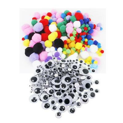 308x Assorted Size Self Adhesive Wiggle Eyes and 300pcs Mixed Pom Pom Balls