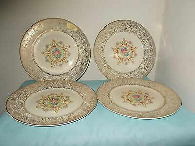 Four Vintage 22K Gold Trimmed Dinner Plates By Paden City Pottery -- 11 Ins.