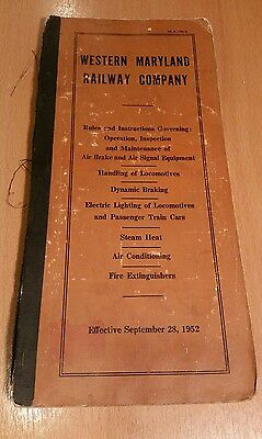 1952 Western Maryland Railway Rules & Instructions Operating Equipment Booklet