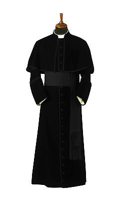 Black cassock with attached shoulder cape / Cassock for ministers and priests