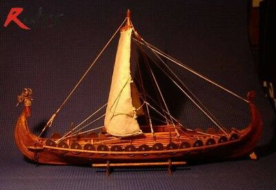 Classic Wooden Scale Sailing Boat Wood Ship Scale 1/50 Viking Ship Model 440 mm