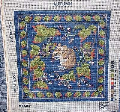 Autumn Needlework Tapestry Printed Canvas Field Mouse Harvesting Bramble Berries