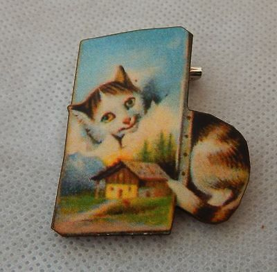 Cat in a Painting Canvas Brooch or Scarf Pin Accessories Jewelry Wood Blue NEW