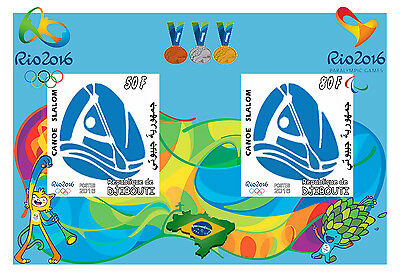 Djibouti 3 Sheets Canoe Slalom Rio 2016 Olympic Games Jeux Olympiques Sports