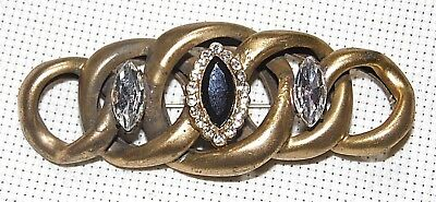 Vintage Stunning Antique Gold Tone Faceted Black And Clear Crystal Pin Brooch