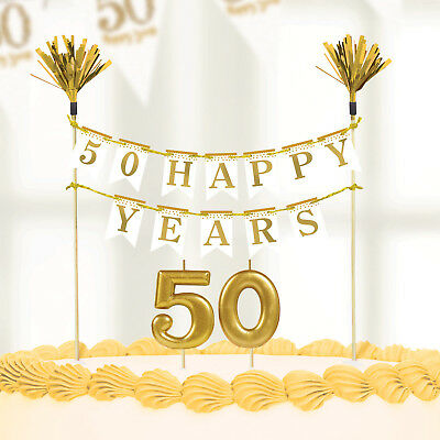 50th Sparkling Golden Wedding Anniversary Party Cake Candles  Decoration Kit