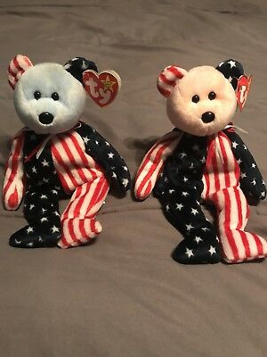 Original TY Beanie Babies - Spangle Pink Face, and Blue Face, RARE with errors