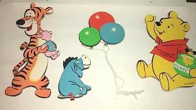 Vintage Disney Winnie The Pooh Tigger Eeyore Cardboard Wall Decorations Hangings