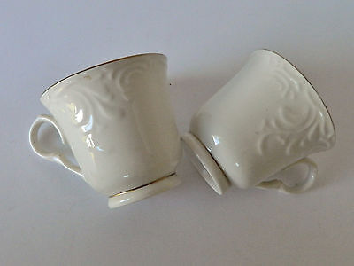 Gibson Designs Golden Legacy Coffee Cups Mugs White Gold Edge Embossed Lot of 2