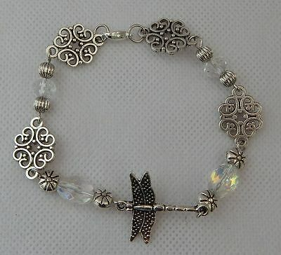 Silver Dragonfly Link Beaded Bracelet Jewelry Handmade NEW Fashion Accessories