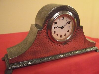 1905-10 Arts & Crafts Liberty Planished Tudric Pewter 30 Hour Mantle Clock.01401