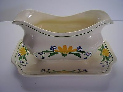 Steubenville Ivory Gravy Boat Attached Underplate Yellow Flowers FREE SHIPPING.