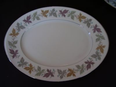 """Sango Argent 16"""" Oval Serving Platter Colored Leaves Design FREE SHIPPING."""