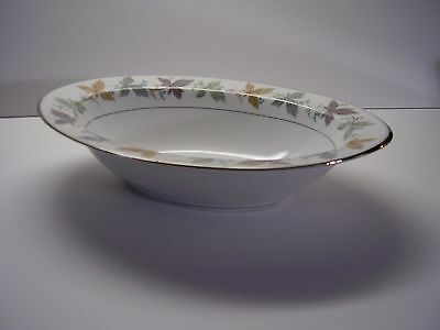 Sango Argent Oval Serving Bowl Colored Leaves Design FREE SHIPPING.