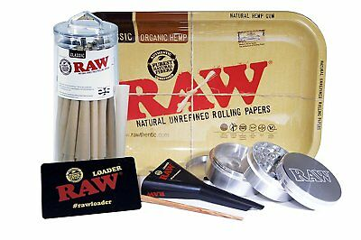 RAW Classic King Size Pure Hemp Pre-Rolled Cones With Filter 50 Pack Starter Kit