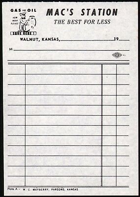 Vintage receipt MACS STATION gas and oil picturing a serviceman Walnut Kansas