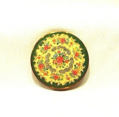 Vintage Made In Great Britain Floral Enamel Gold Tone Mirror Powder Compact