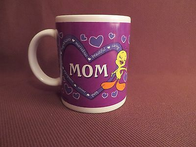 Tweety Bird Mom in Heart Design Mug - Coffee Cup - Purple - Mother - Warner Bros