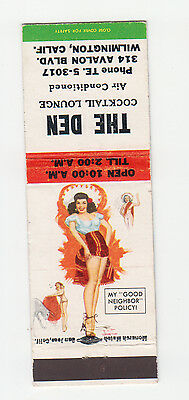 T.N. Thompson Pin Up Matchbook Cover, The Den Cocktail Lounge, Series 5, 1957