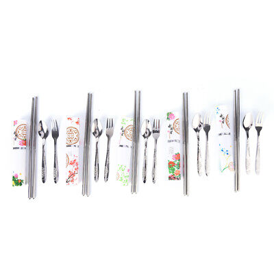 chinese style portable tableware stainless steel spoon fork travel set LE