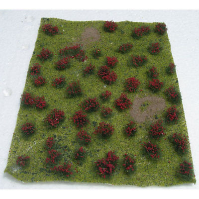 "JTT Miniature Tree - Flowering Meadow Mat -- Red 5 x 7""  12.7 x 17.8cm Sheet"