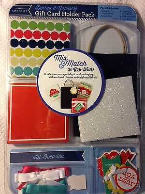NEW Give a Gift, Design it Yourself, Gift Card Holder Pack, For All Occasions