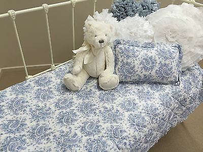 Blue White French Provincial Paisley Crib Cot Quilt & Cushion Baby Nursery Set