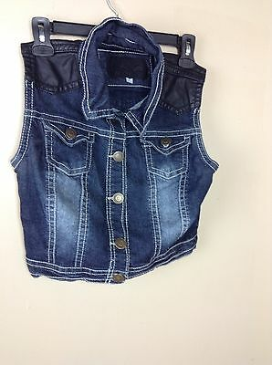 All Lower Girls Size Small Denim Sleeveless Botton Up Vest Cute