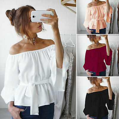Womens Summer Bell Sleeve Gypsy Casual Off Shoulder Blouse Shirt T-shirt Tops