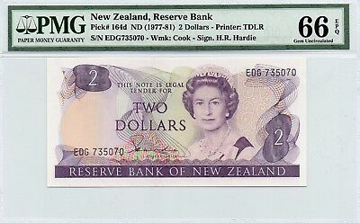 TT PK 164d 1977 NEW ZEALAND 2 DOLLARS NOTE PMG 66 EPQ GEM UNC POPULATION OF TWO!