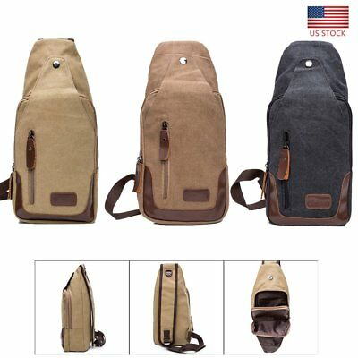 Men's Canvas Satchel Casual Chest Bag Crossbody Handbag Military Shoulder Travel
